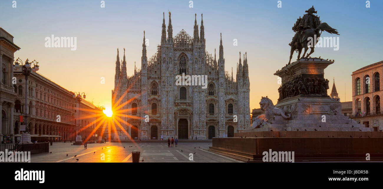 Famous Duomo at sunrise, Milan, Europe. - Stock Image
