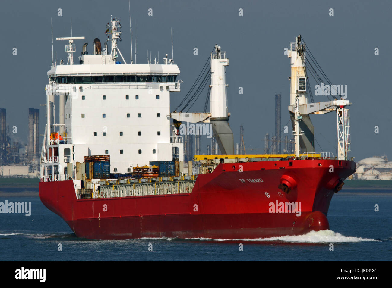 The general cargo ship BF Timaru passes Terneuzen and continues to the port of Antwerp. - Stock Image