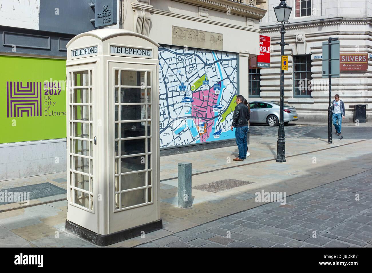 Kingston telephone box in Whitefriargate, Hull - Stock Image