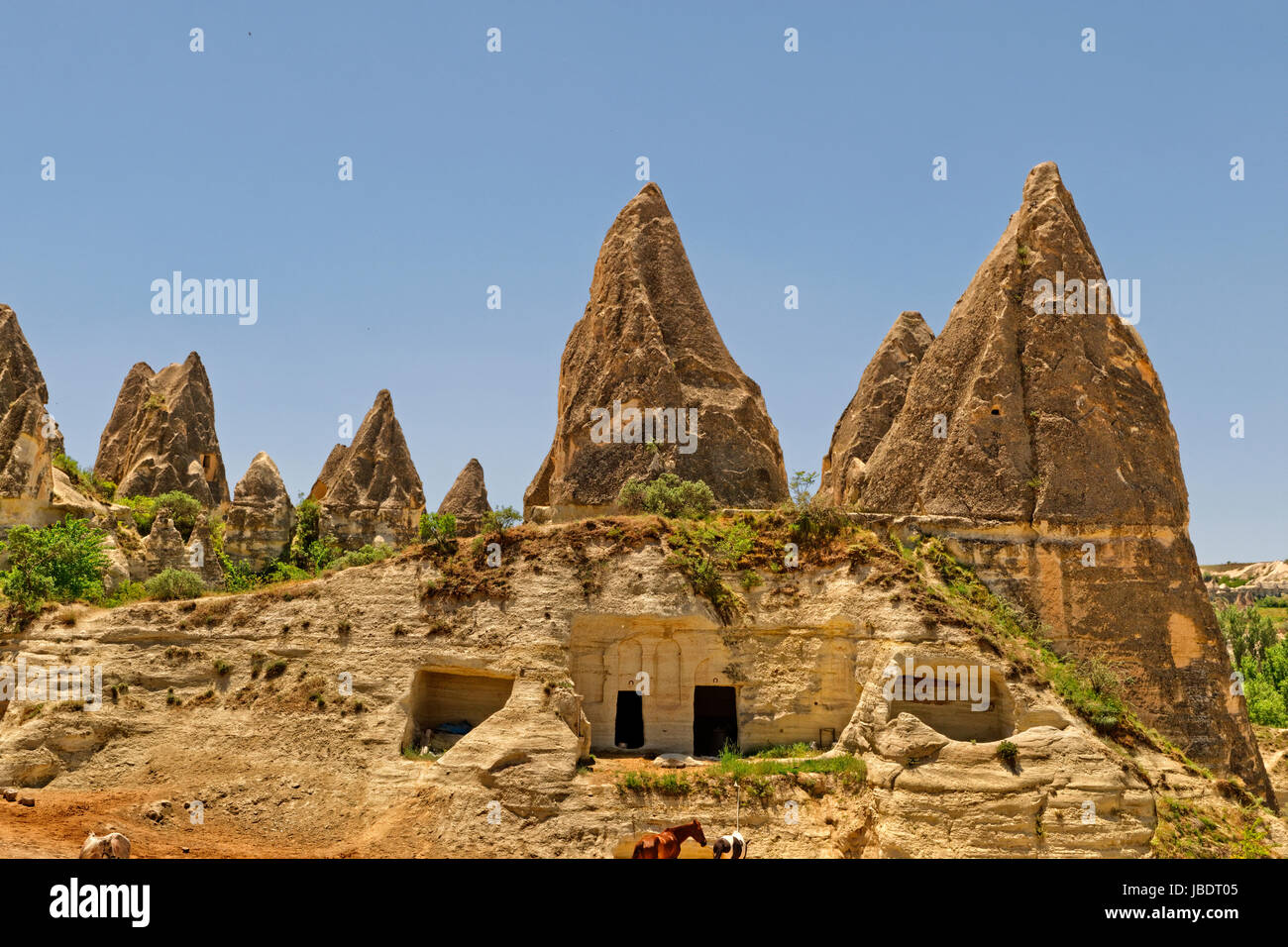 Cave dwellings at Goreme National Park, Cappadocia, Turkey - Stock Image