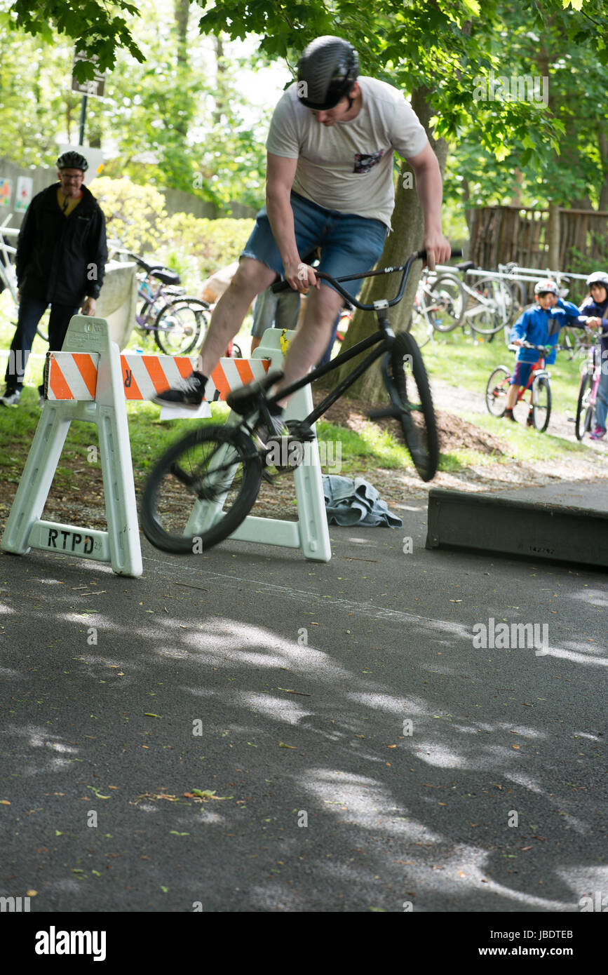 RADNOR TOWNSHIP, PA - MAY 7: BMX Stunt Performance by Chris Aceto at the Radnor Township Bike Rodeo on May 7, 2017 - Stock Image