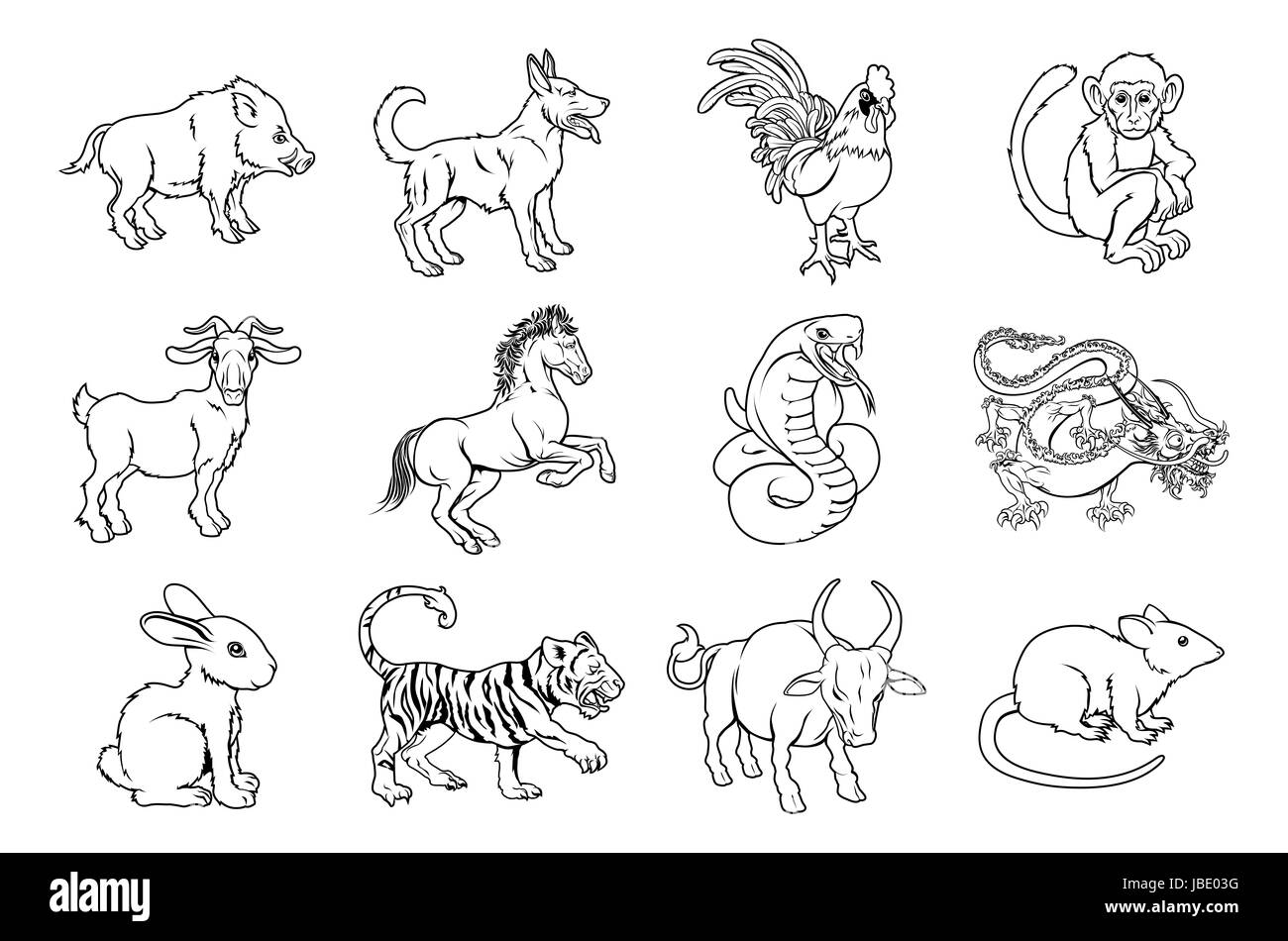Illustrations of all twelve Chinese zodiac sign icon animals - Stock Image
