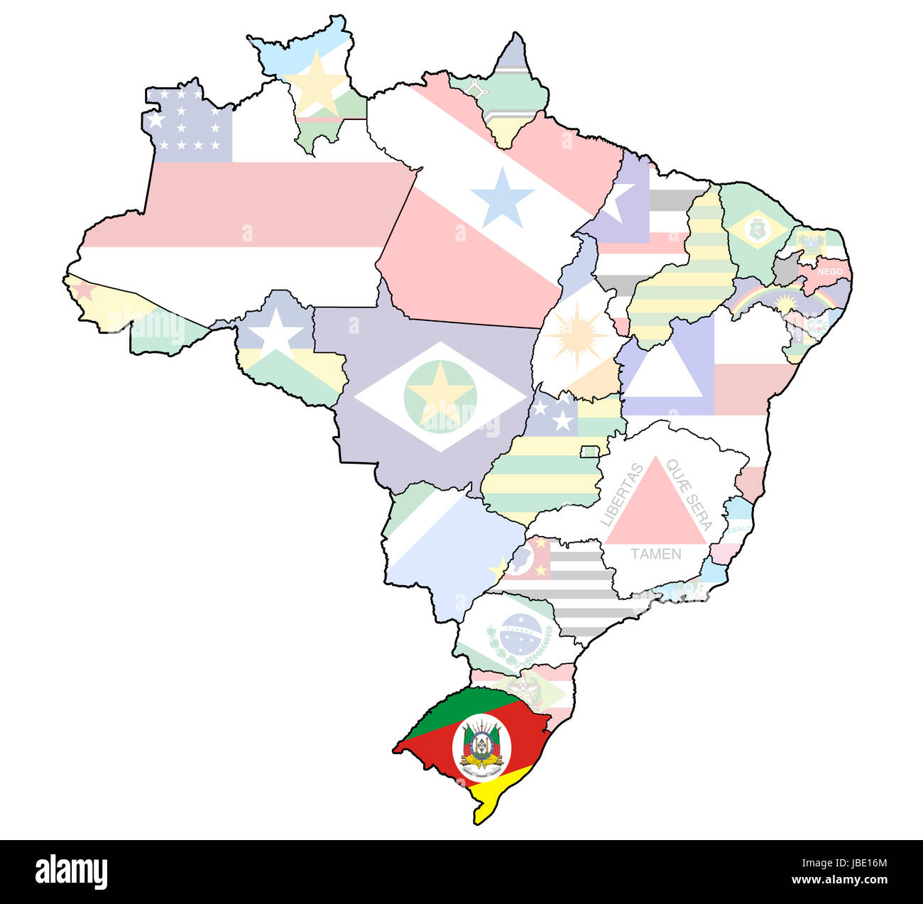 rio grande do sul on admistration map of brazil with flags Stock Photo