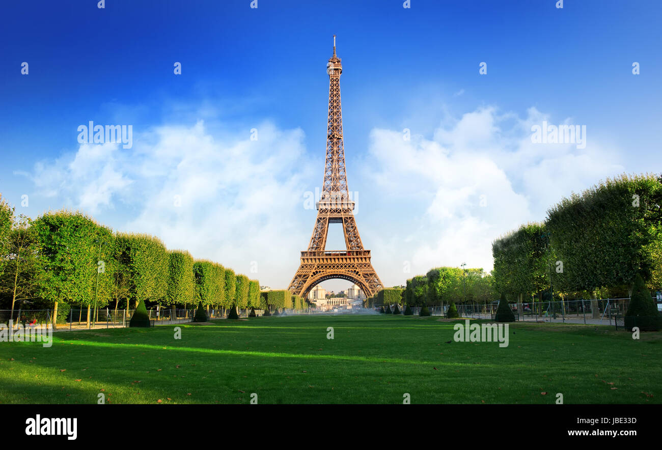 Eiffel Tower and Champs de Mars in Paris, France - Stock Image
