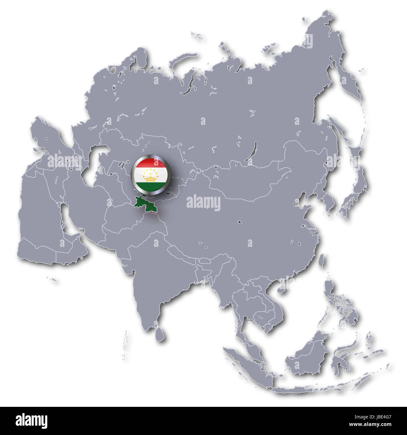 asia map with tajikistan Stock Photo: 144755079 - Alamy