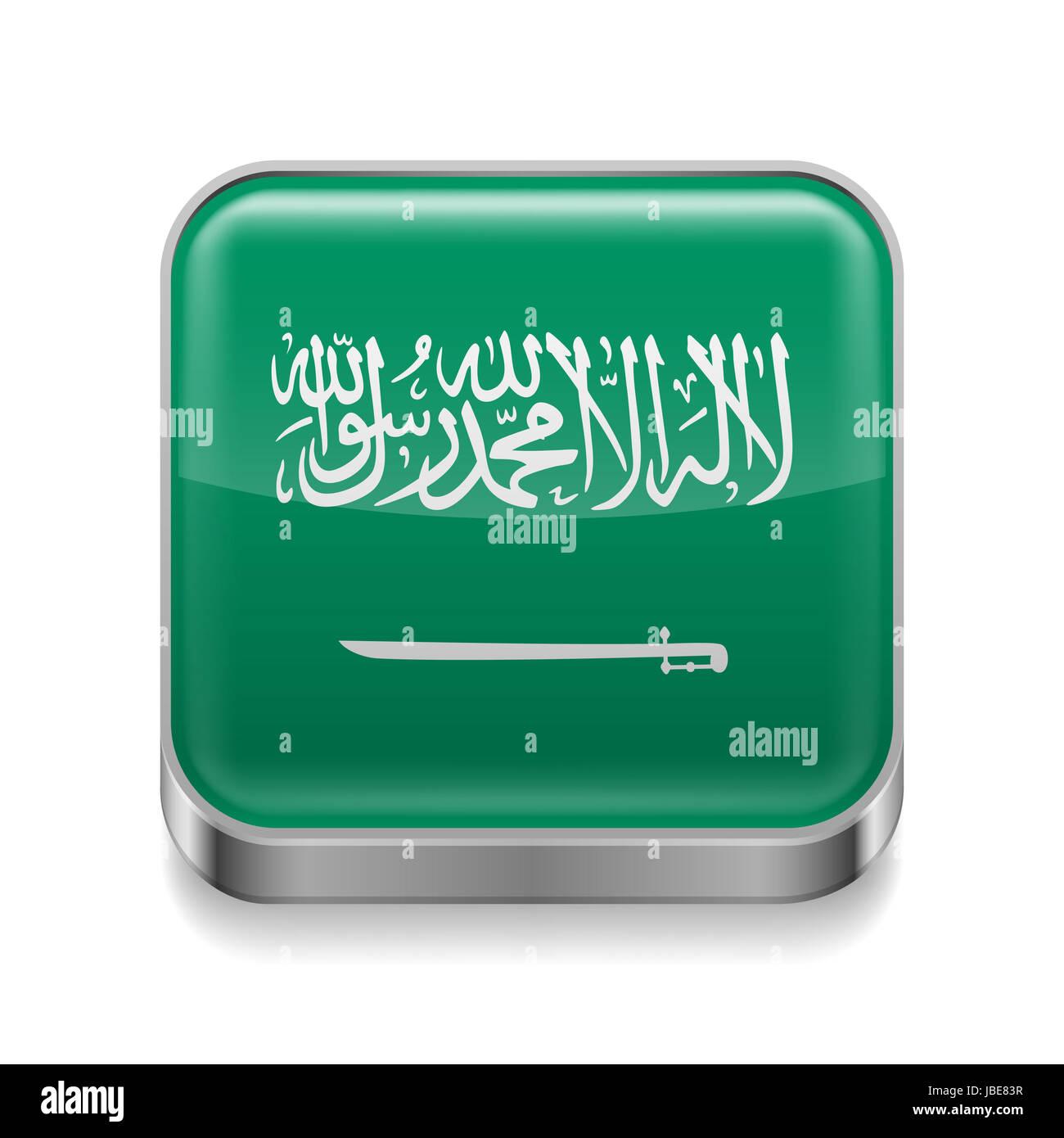 Metal square icon with flag colors of Saudi Arabia - Stock Image