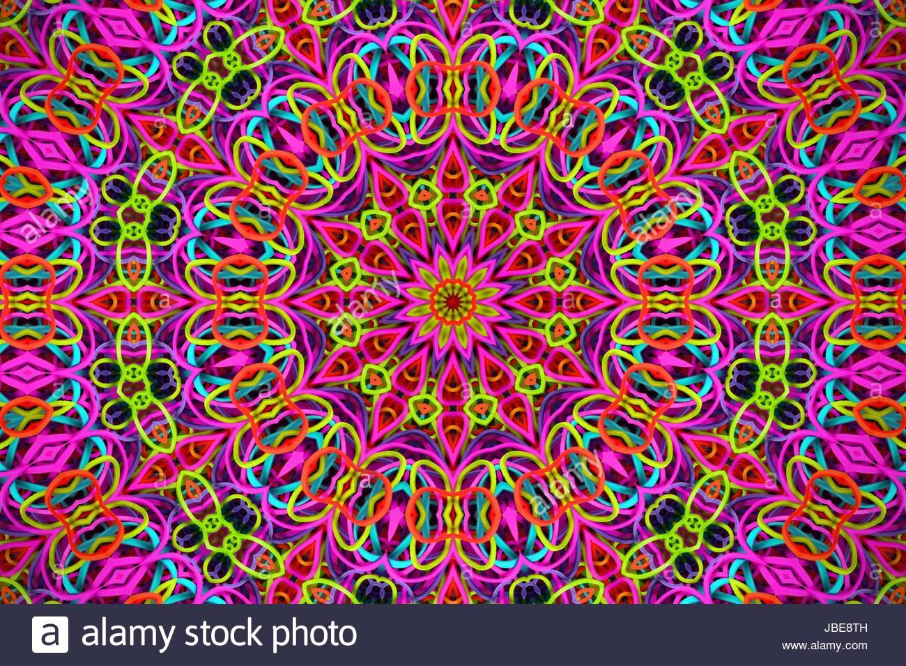 Mandala aus Gummibändchen - Bunte Gummibänder, die zu einem schönen, bunten Mandala Muster geformt - Stock Image