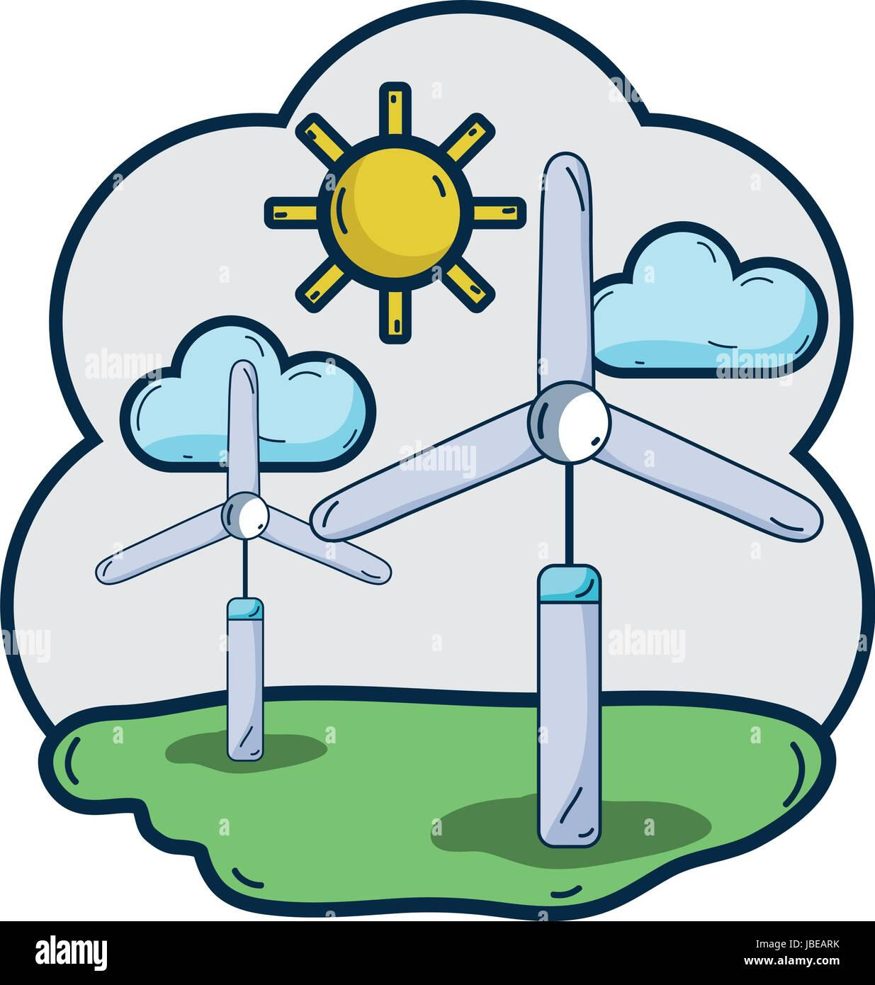 windpower industries to healp the environment - Stock Vector