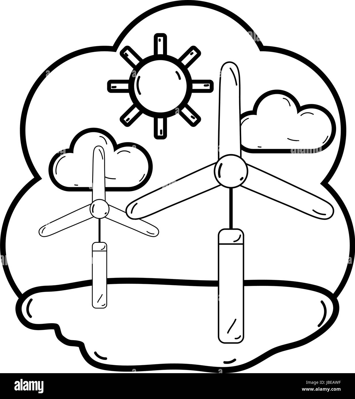 line windpower industries to healp the environment - Stock Vector