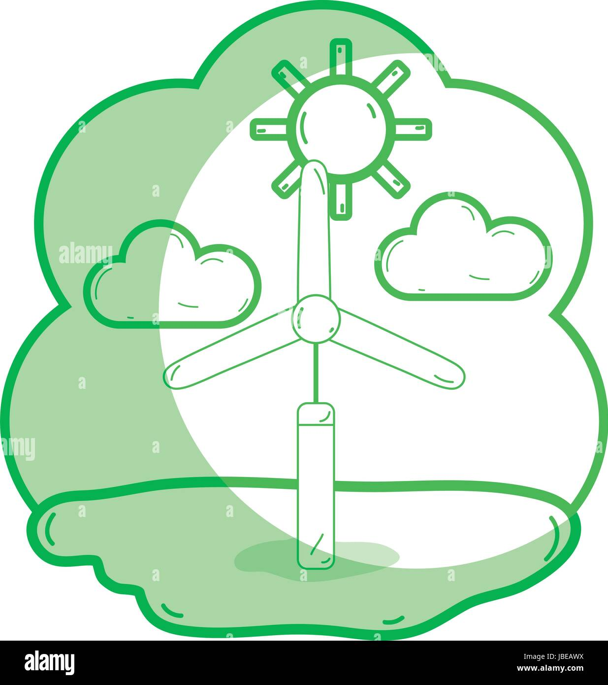 silhoutte windpower industries to healp the environment - Stock Vector