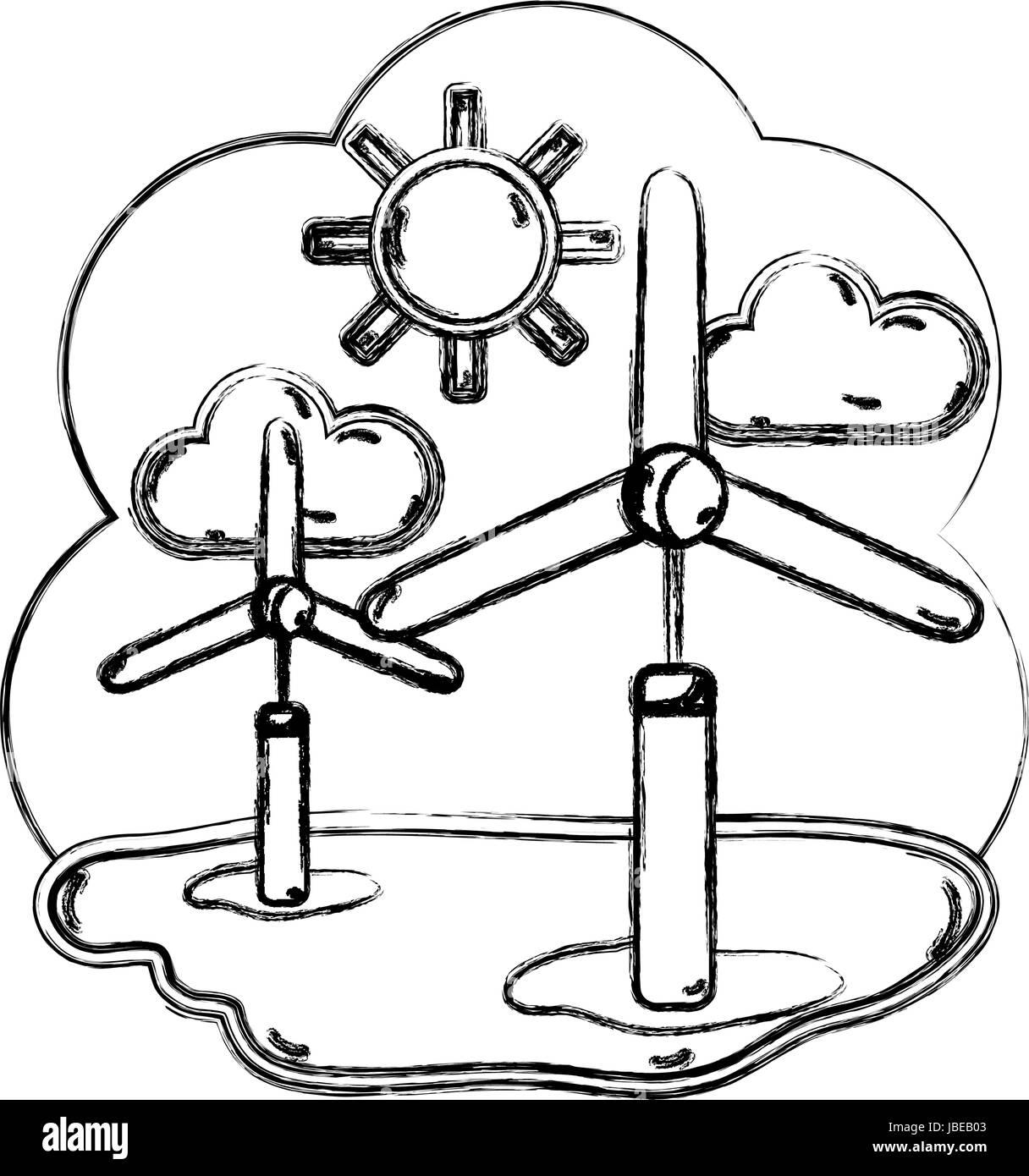 figure windpower industries to healp the environment - Stock Vector