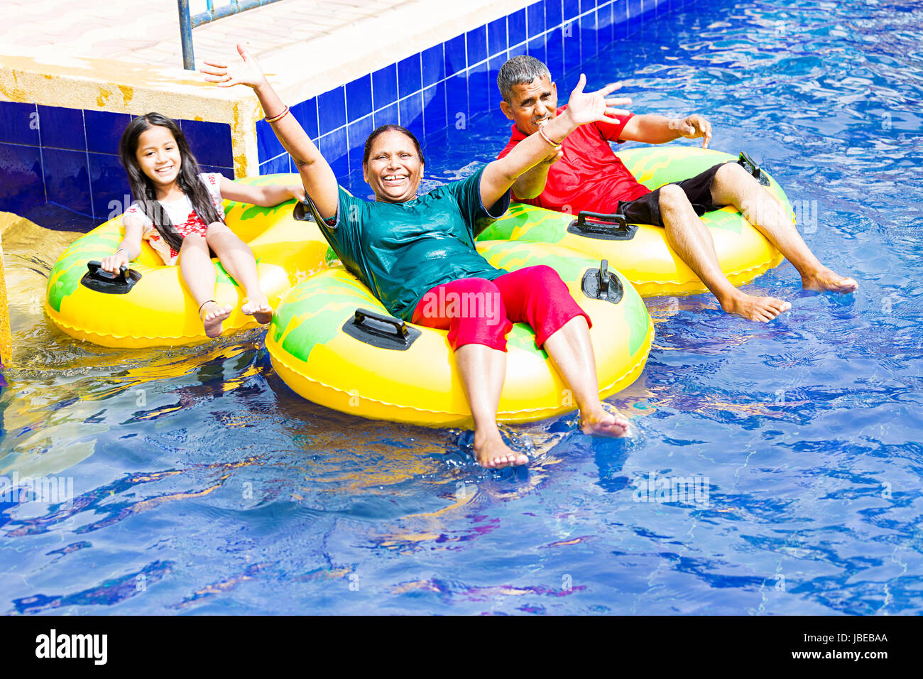 Grandparents Granddaughter Waterpark Swimming Pool Enjoy - Stock Image