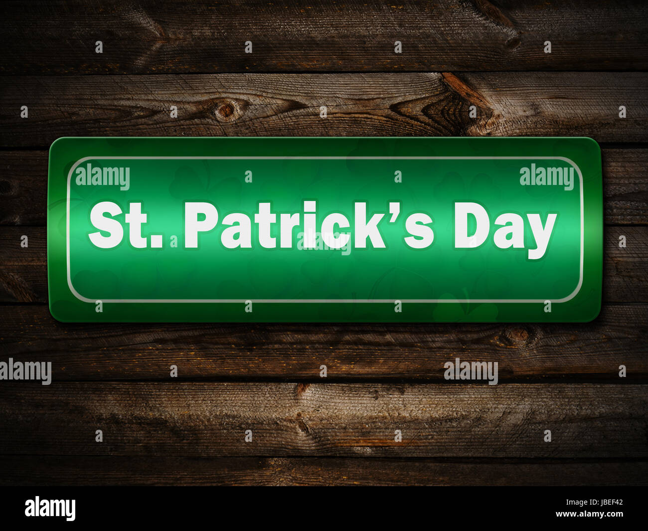 Sign Of St Patrick Day Street On The Wooden Wall Stock Photo