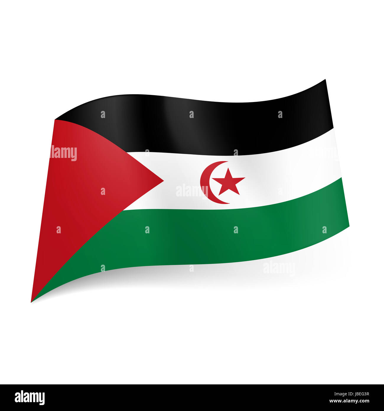National flag of Sahrawi Arab Democratic Republic. Black, white and green horizontal stripes with red triangle, - Stock Image