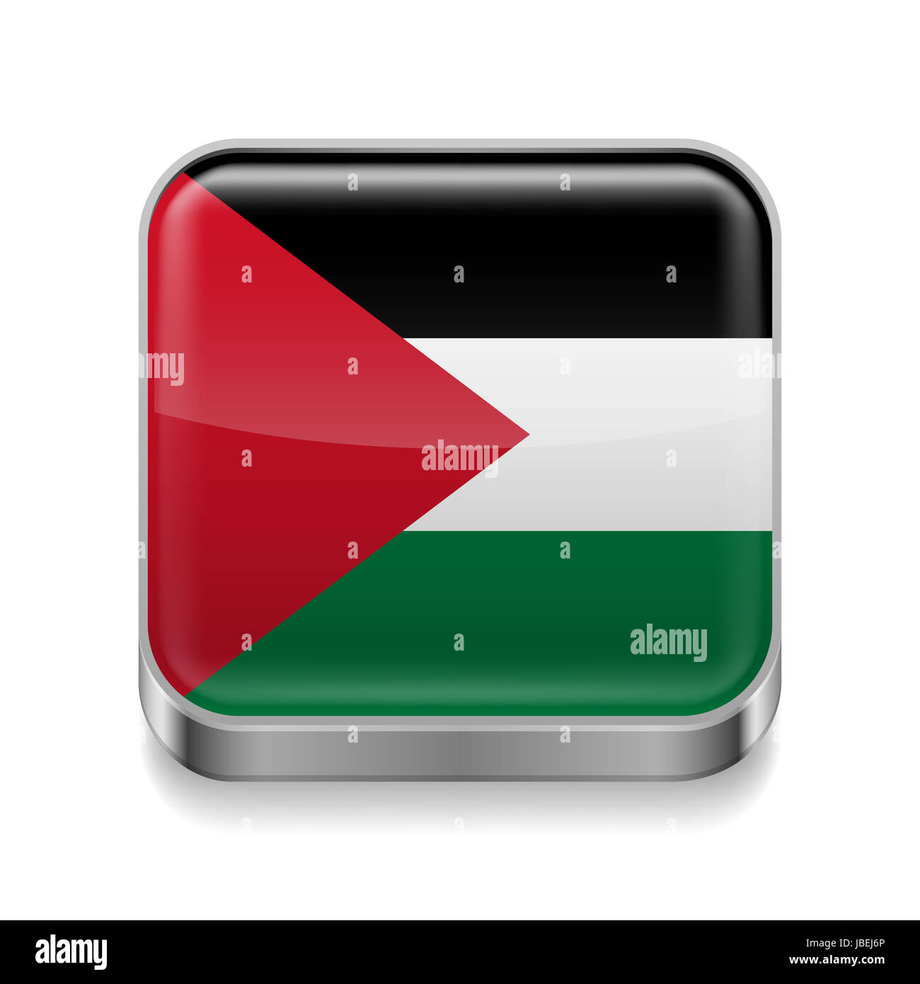 Metal square icon with Palestinian flag colors - Stock Image