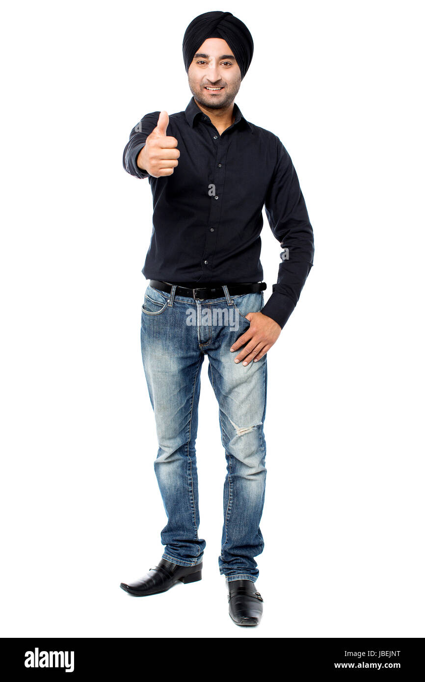 Young Indian Guy Showing Thumbs Up Stock Photo 144766212 Alamy
