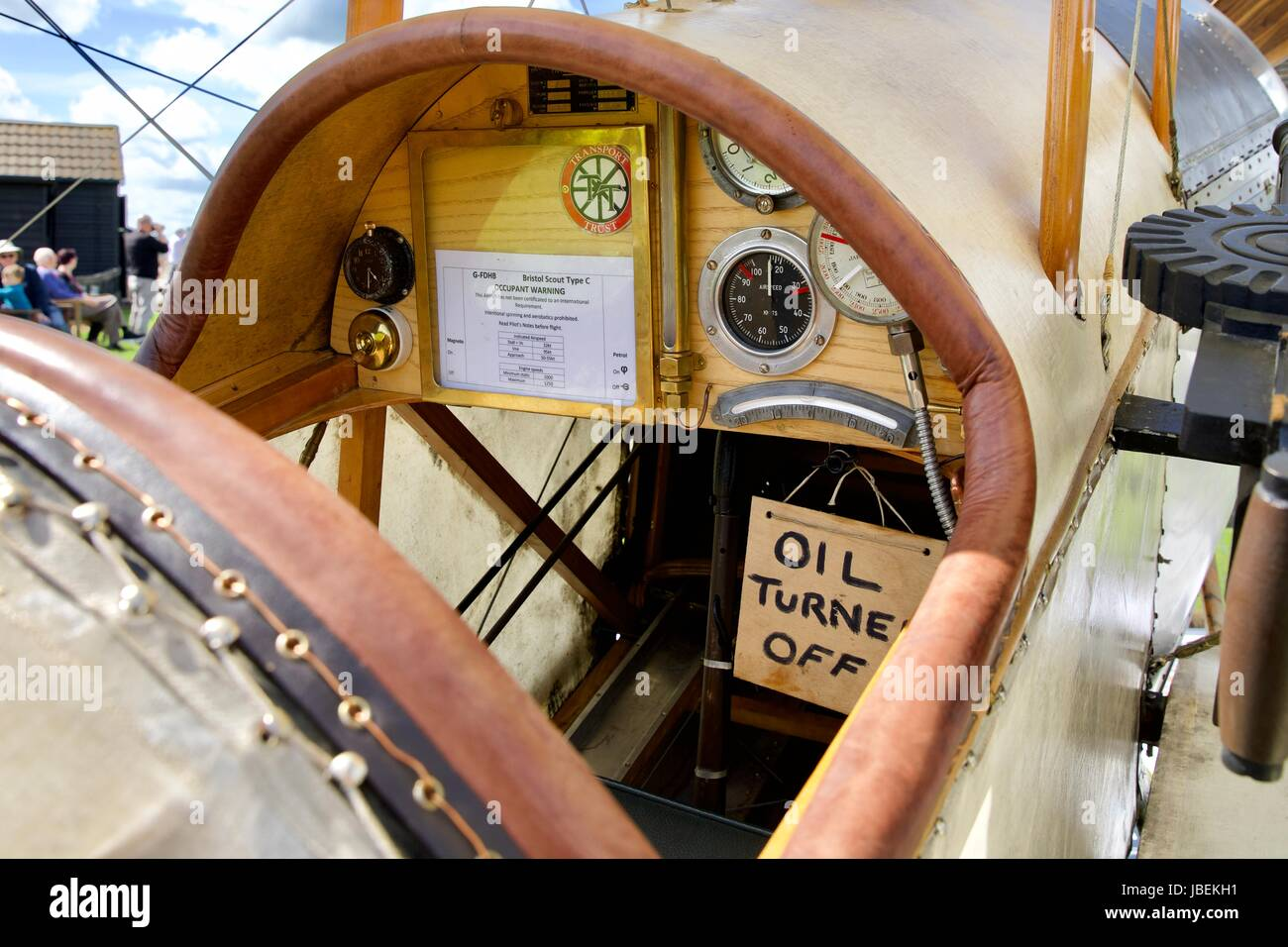 Bristol Scout 1264 on static display at Old Warden - Stock Image