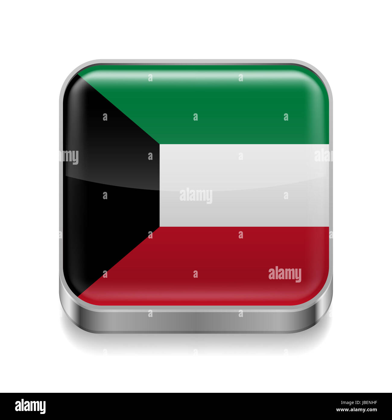 Metal square icon with flag colors of Kuwait - Stock Image