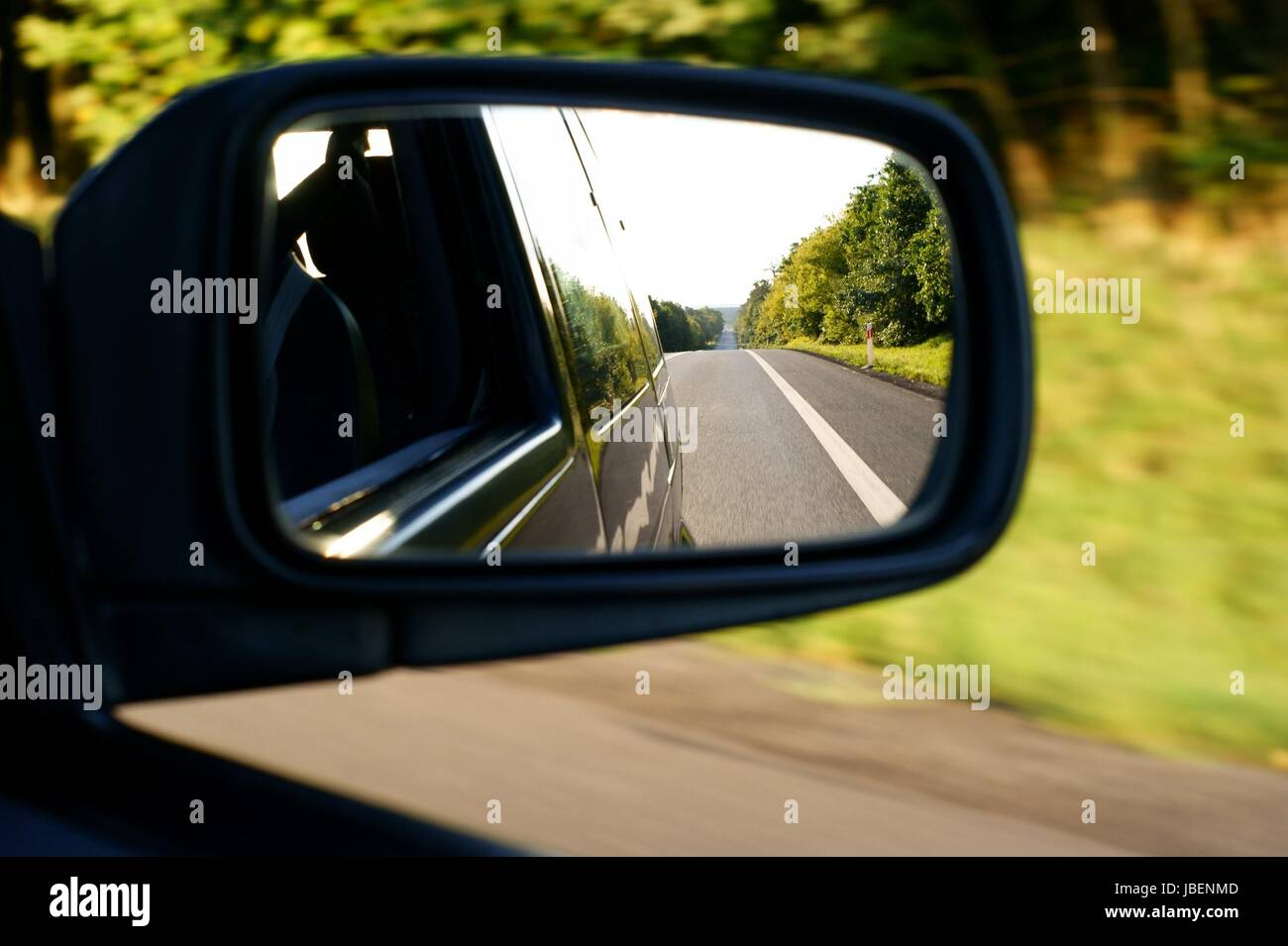 Landscape in the mirror of a car Stock Photo