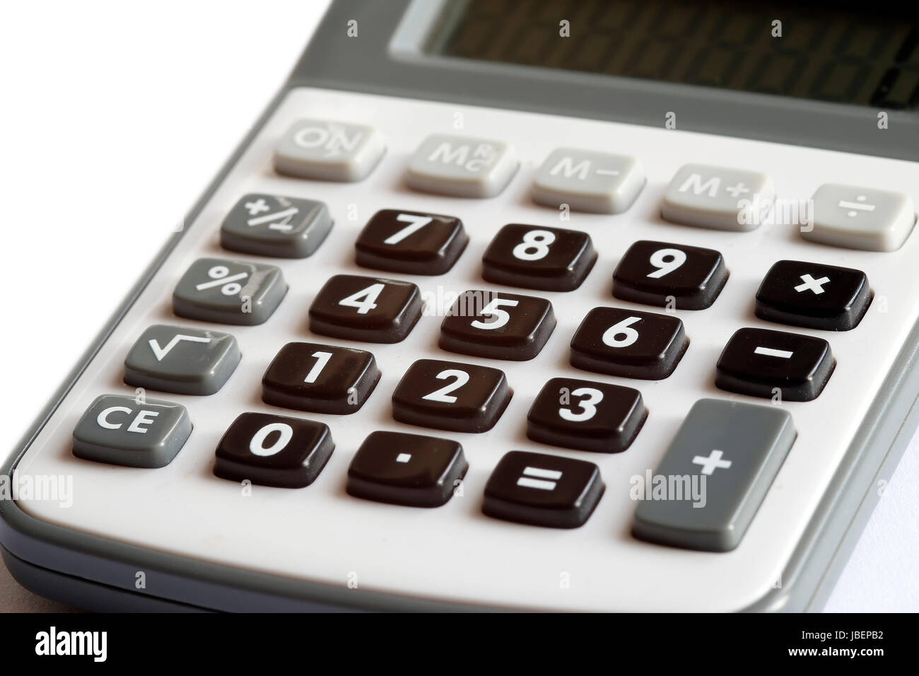 Calculator - counting of the financial position - charges and revenue - receipts and expenditure - poor prospects - Stock Image
