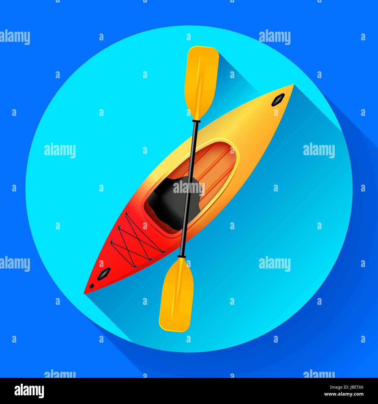 Kayak and paddle icon vector. Outdoor activities. Yellow red kayak, sea kayak flat icon - Stock Vector