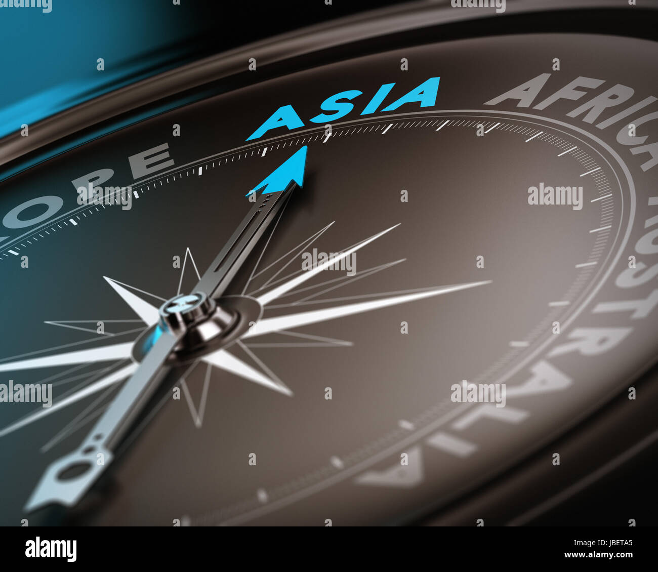Abstract compass needle pointing the destination asia, blue and brown tones with focus on the main word. Concept - Stock Image