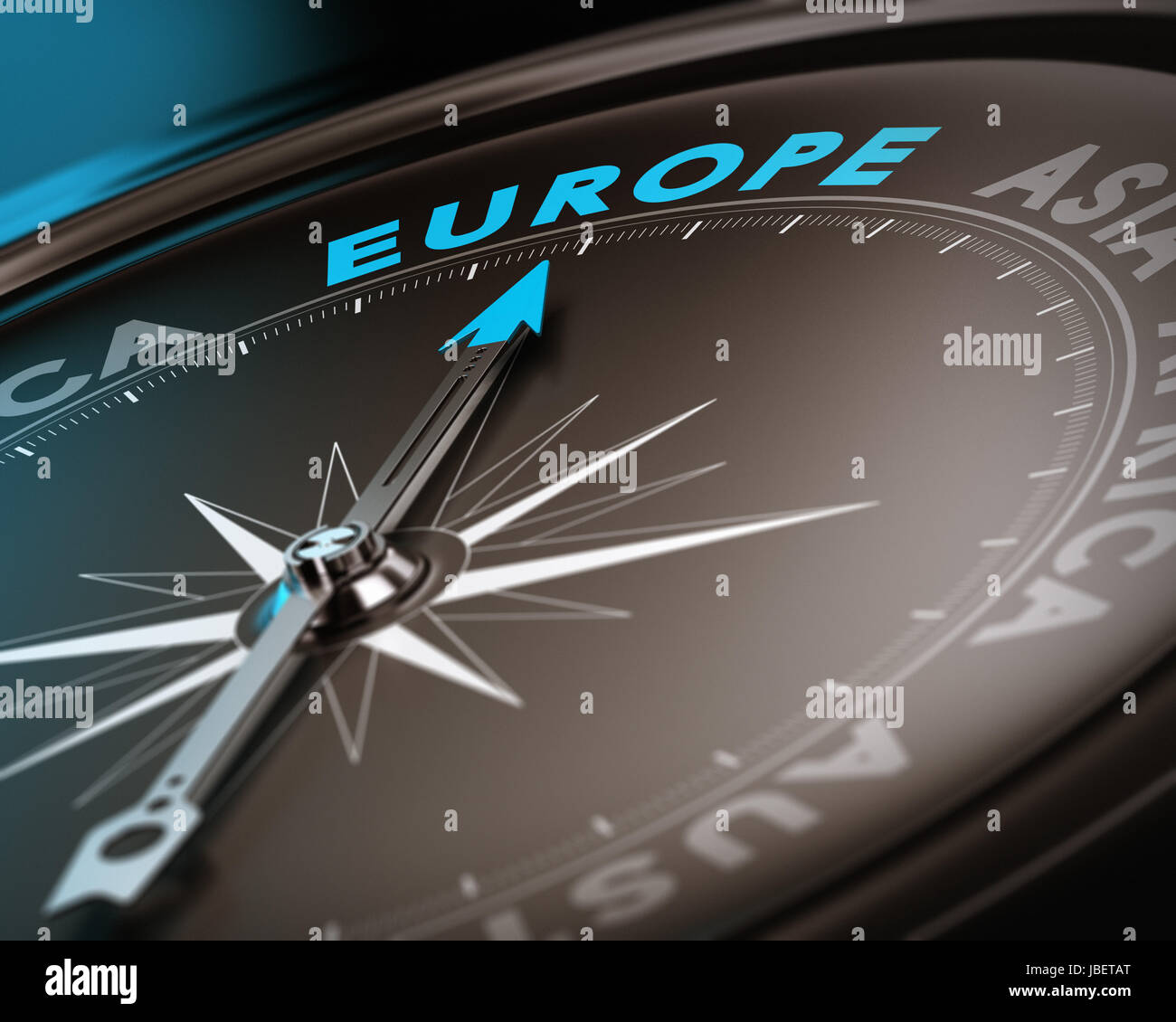 Abstract compass needle pointing the destination europe, blue and brown tones with focus on the main word. Concept - Stock Image