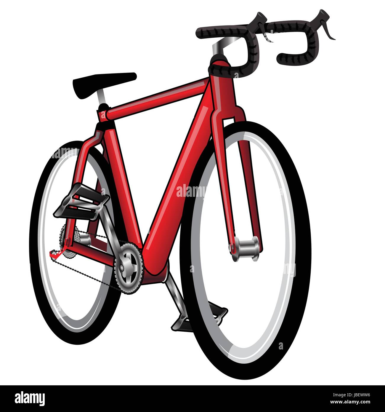 Isolated Red Bicycle - Vector illustration - Stock Image