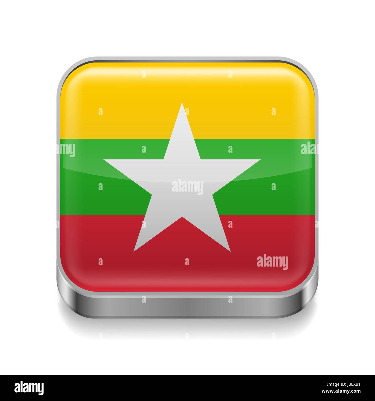 Metal square icon with flag colors of Myanmar Stock Photo