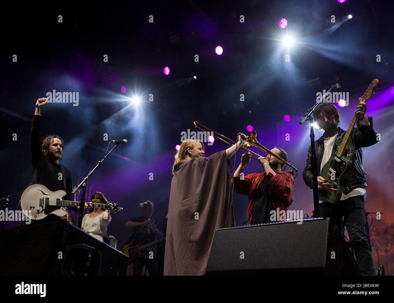 Broken Social Scene performing at Field Trip Music & Arts Festival 2017 featuring Feist, Amy Milan of STARS and Stock Photo