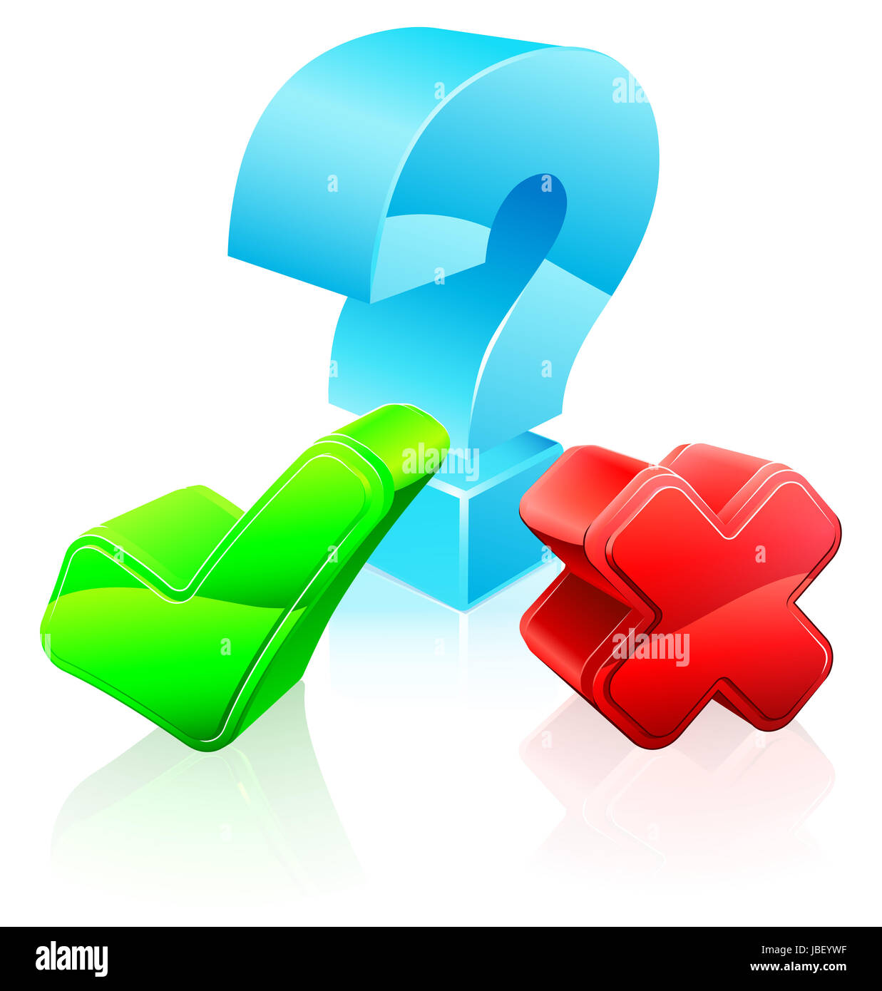 Question and answer concept of a question mark and cross and tick
