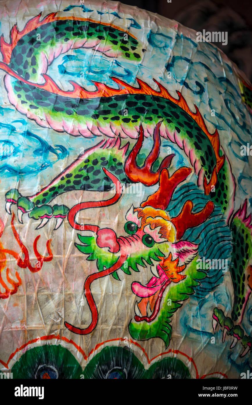 Chinese Lantern with Dragon Motif, Tin Hau Temple, Shek O, Hong Kong - Stock Image