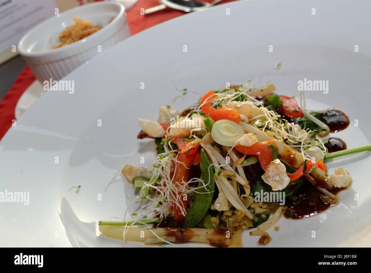 gebratenes Gemuese und thailaendischer Schweinebauch - asiatische Kueche - Stock Image