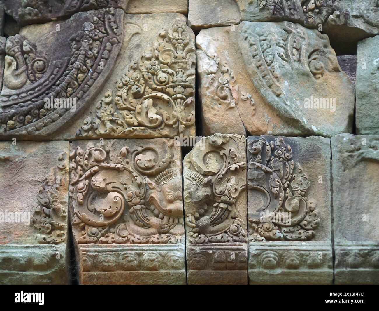 Gorgeous relief on the pediment of Prasat Hin Muang Tam, the ancient temple complex in Buriram, Thailand - Stock Image