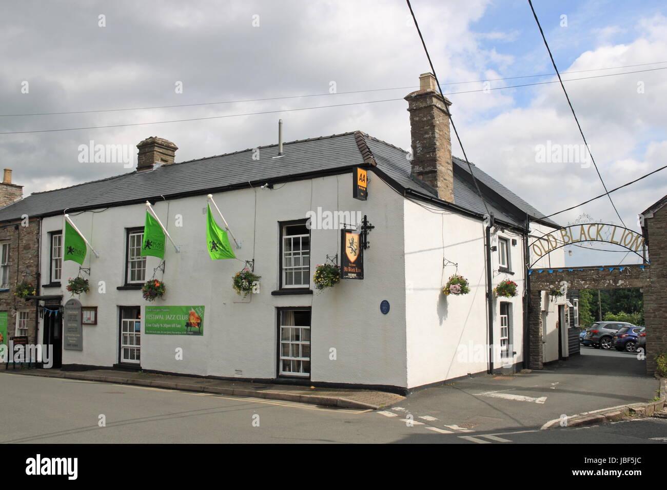 Old Black Lion pub, Lion Street, Hay-on-Wye, Brecknockshire, Powys, Wales, Great Britain, United Kingdom, UK, Europe - Stock Image