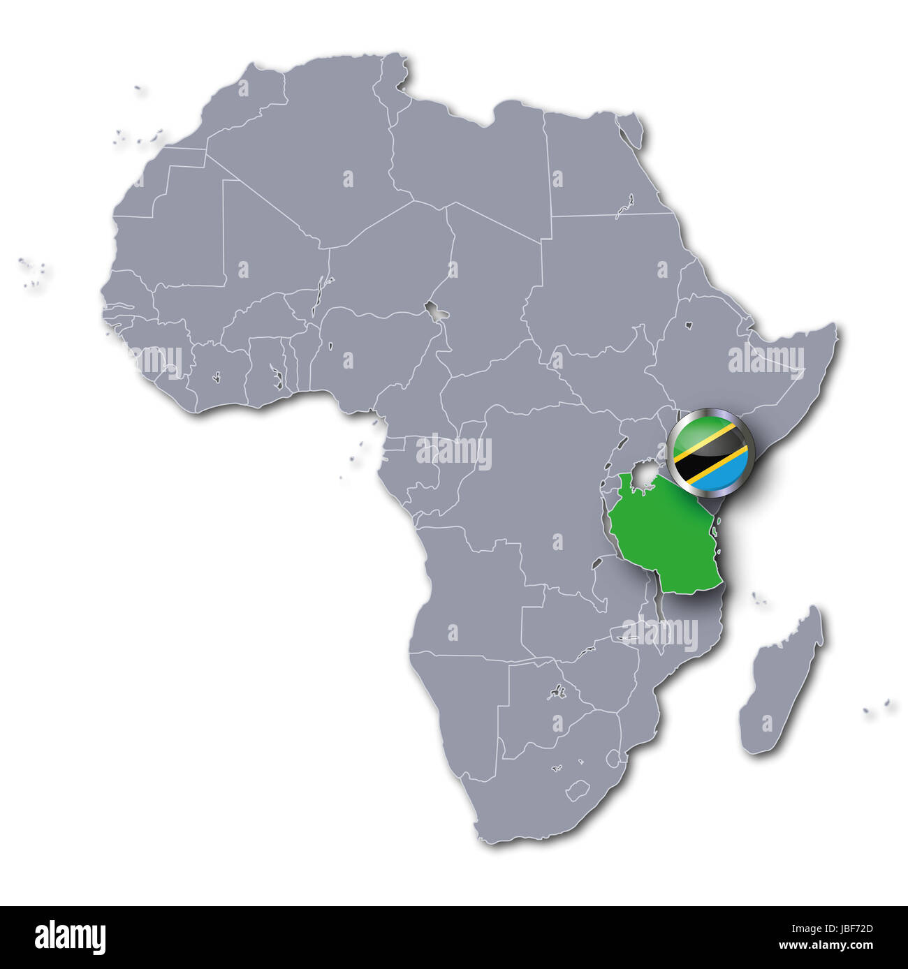 Image of: Africa Map With Tanzania Stock Photo Alamy