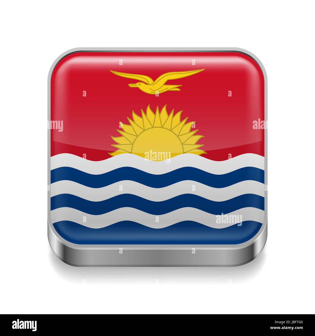 Metal square icon with flag colors of Kiribati - Stock Image