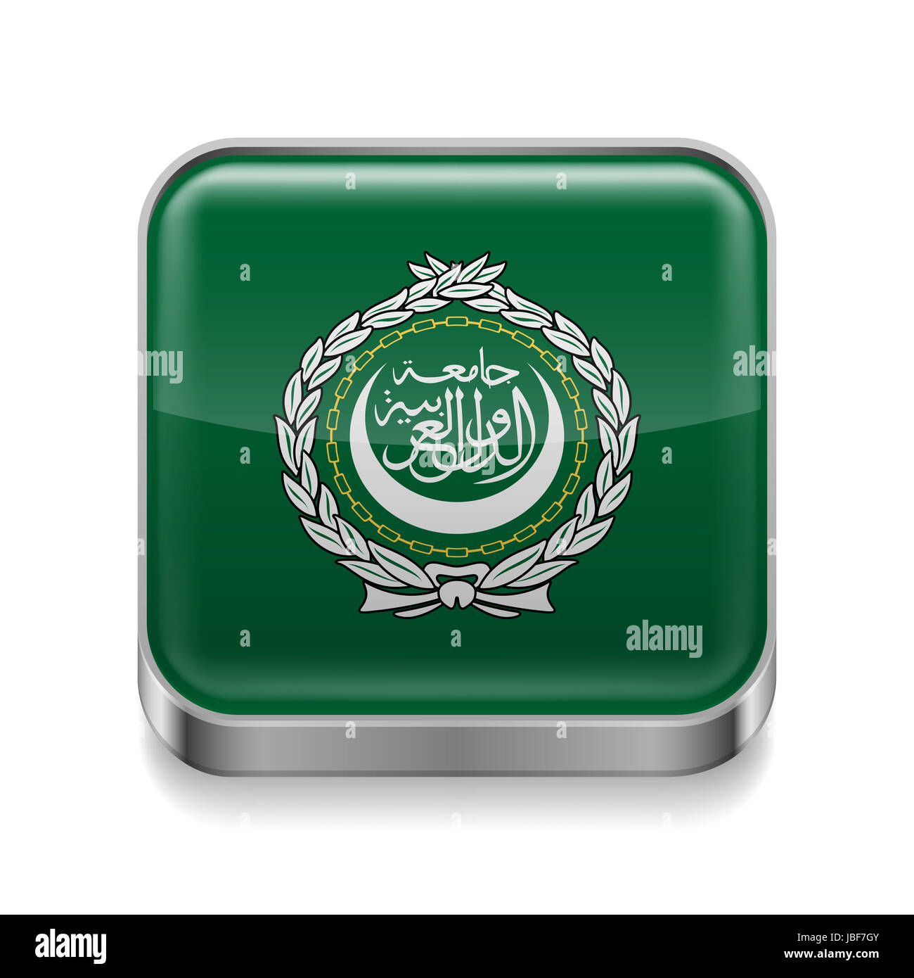 Metal square icon with flag colors of Arab League - Stock Image