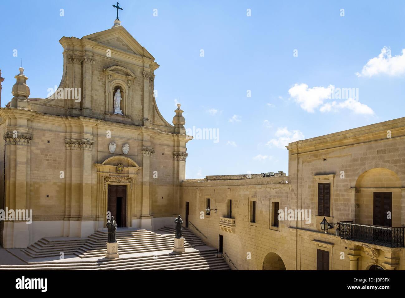 The Gozo Cathedral inside the Citadel of Victoria (former Rabat) - Victoria, Gozo, Malta - Stock Image
