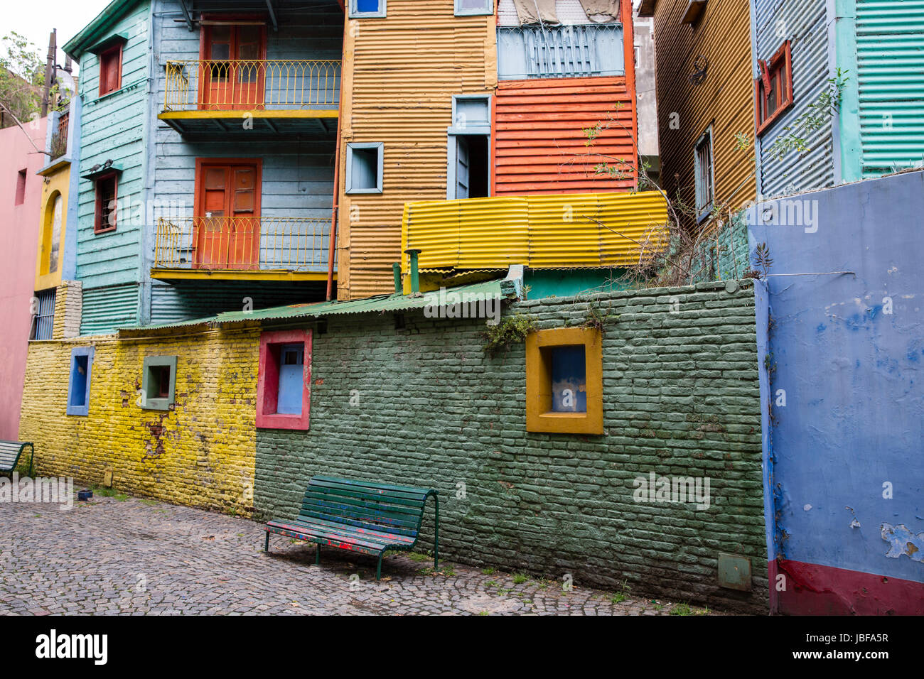 La Boca's Colorful Houses in Buenos Aires, Argentina - Stock Image