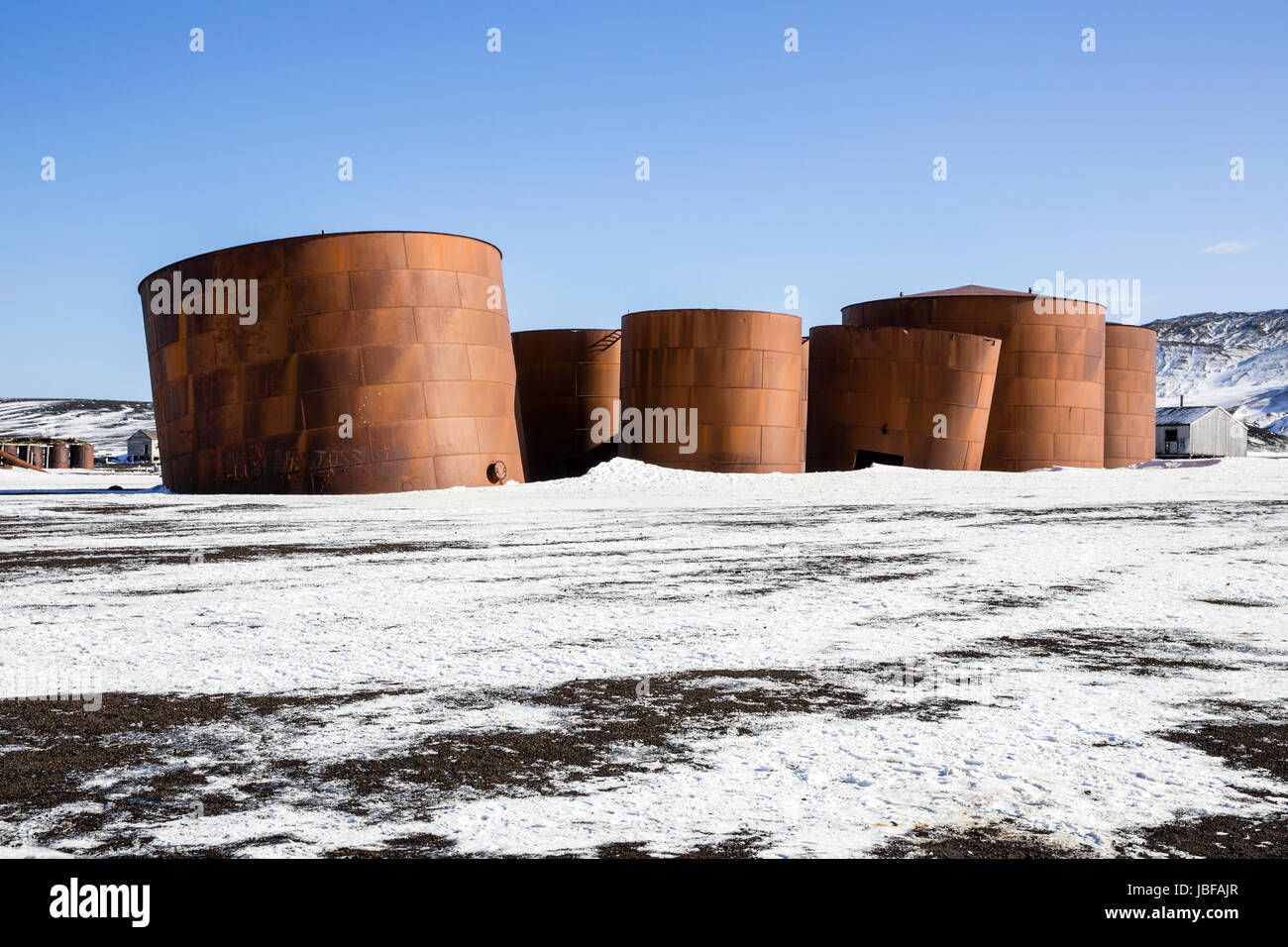 Rusted tanks at former whaling station at Whaler's Bay, Deception Island, Antarctica - Stock Image