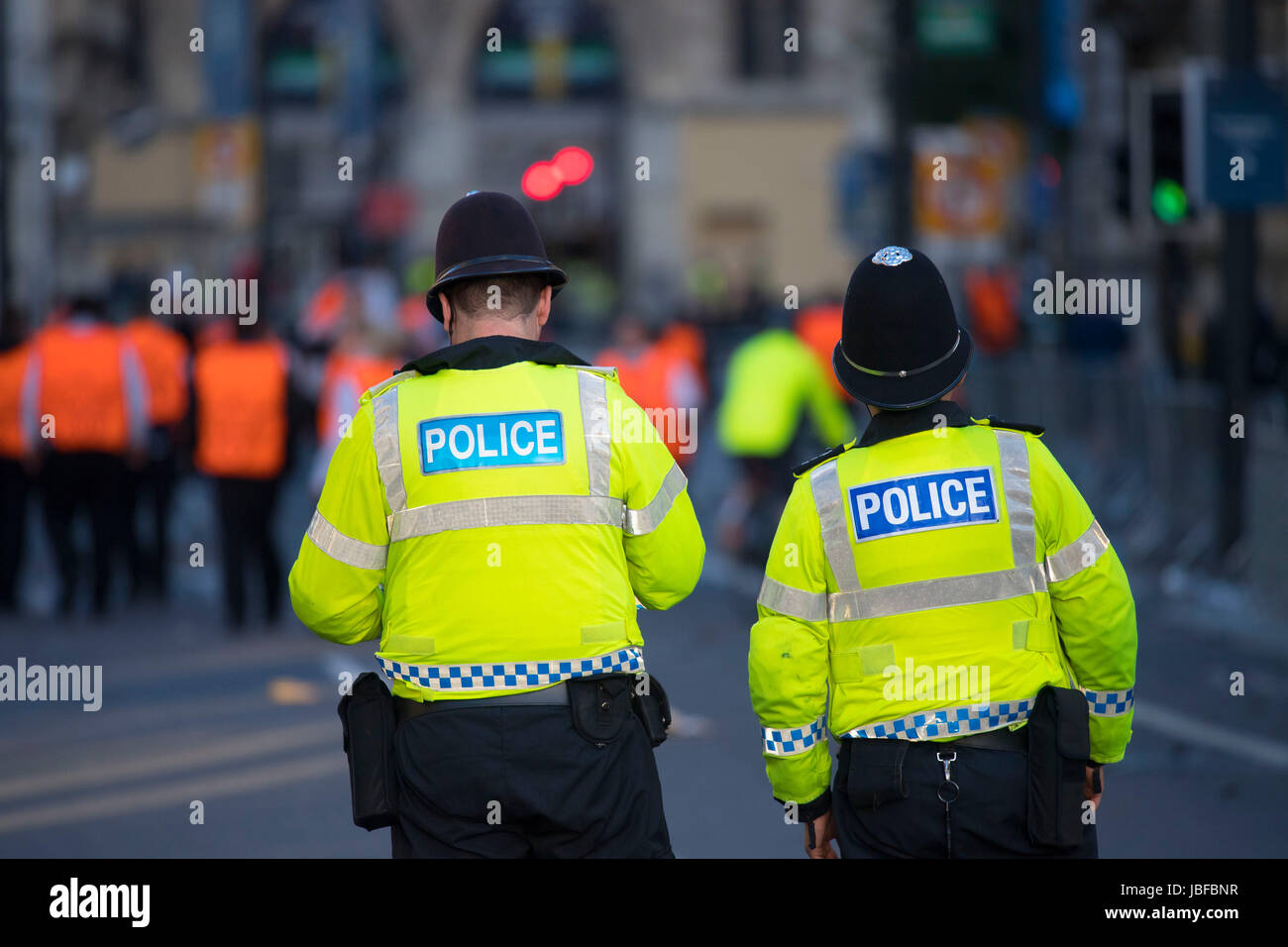 Police officers on patrol in central Cardiff during the Champions League final in Cardiff, Wales, UK. - Stock Image
