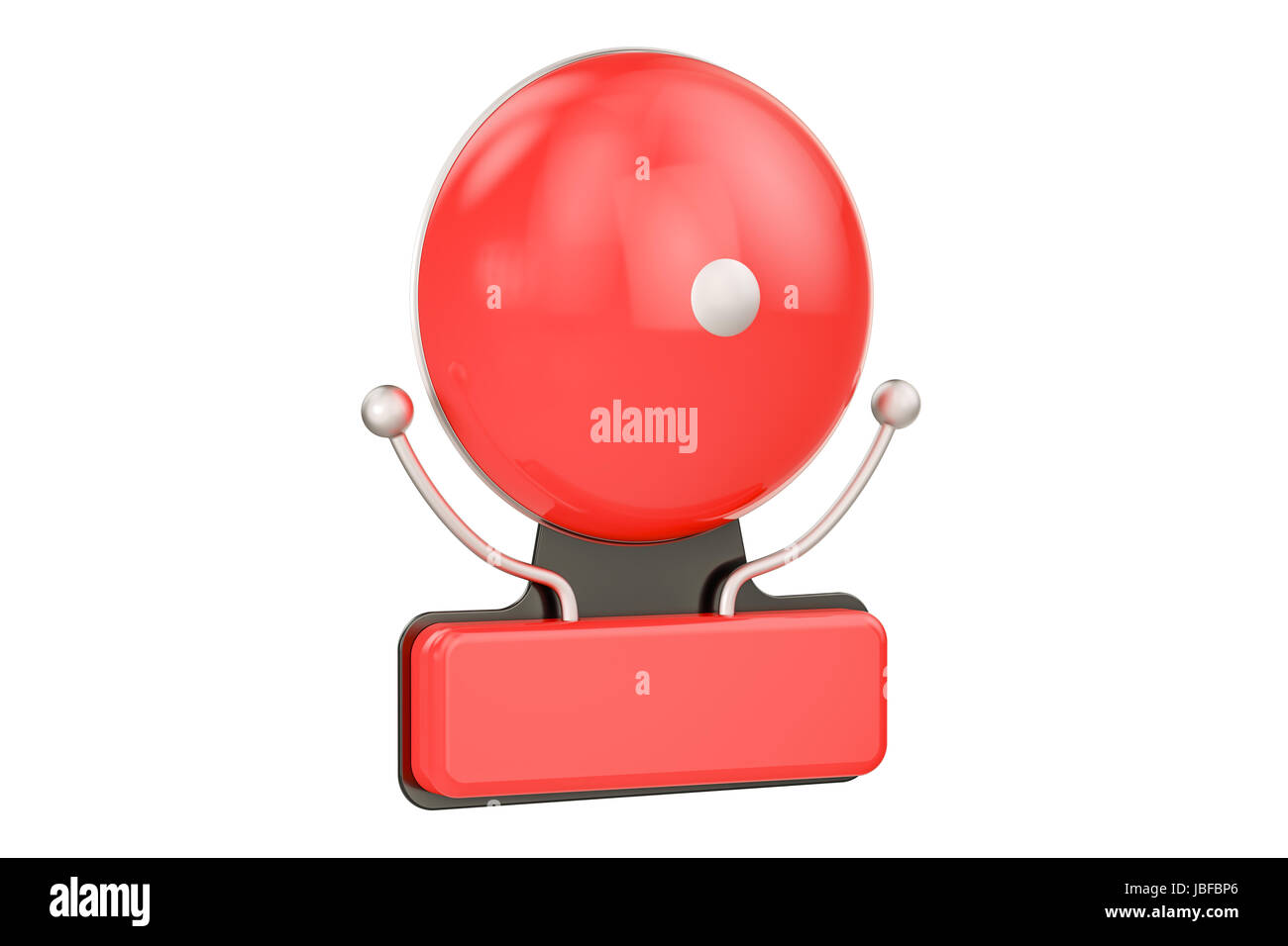 Fire Alarm closeup, 3D rendering isolated on white background - Stock Image