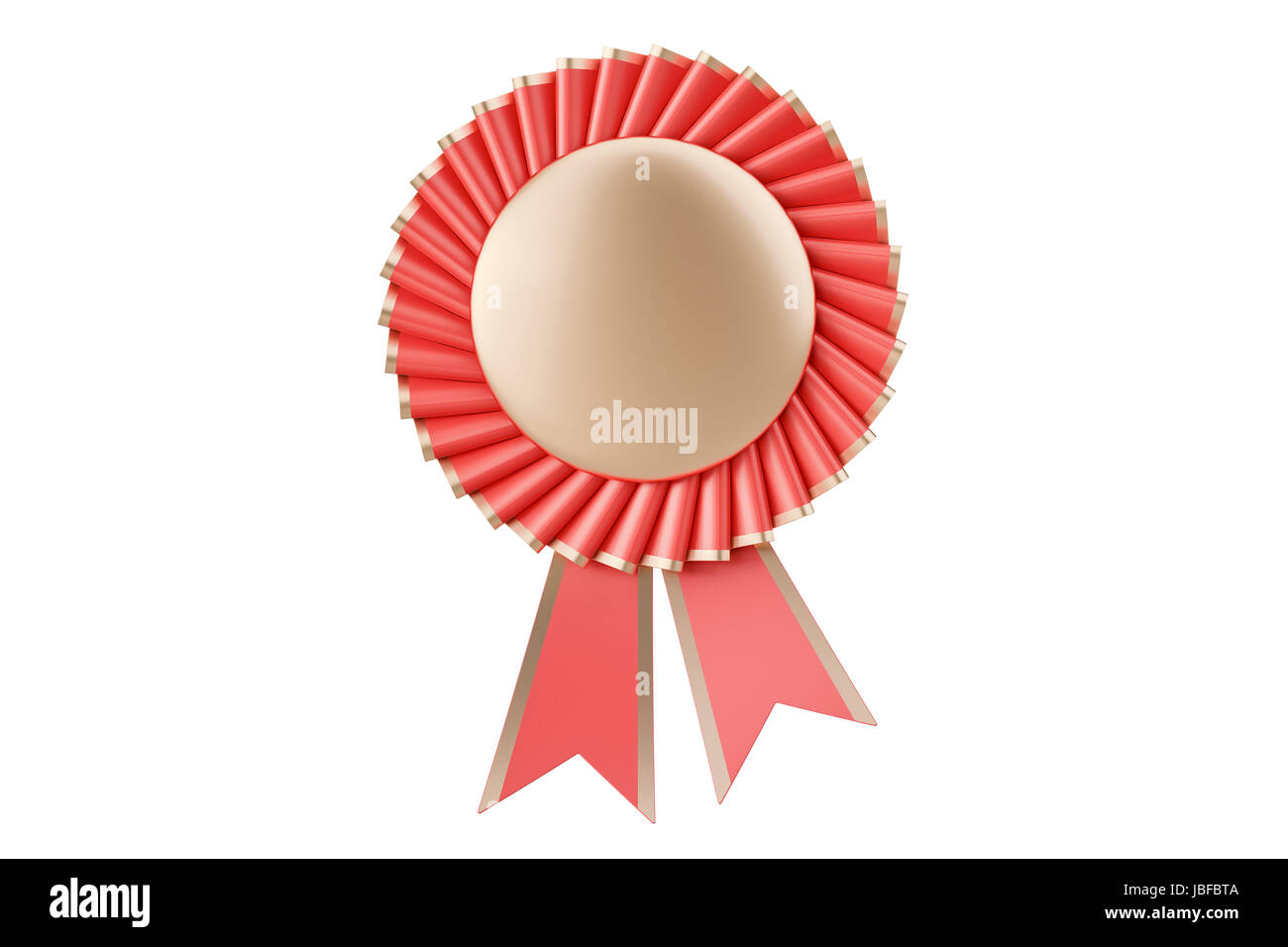 Red rosette winning award, prize, medal or badge with ribbons. 3D rendering isolated on white background - Stock Image
