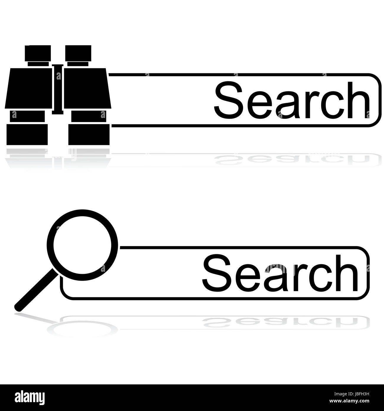 Icon illustration showing a couple of options for search bars, one with a pair of binoculars and one with a magnifying - Stock Image