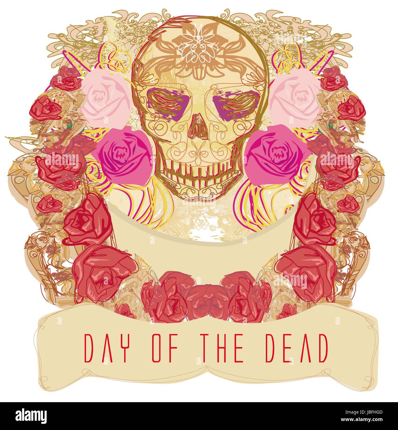 Day Dead Sugar Skull Illustration Stock Photos & Day Dead Sugar ...