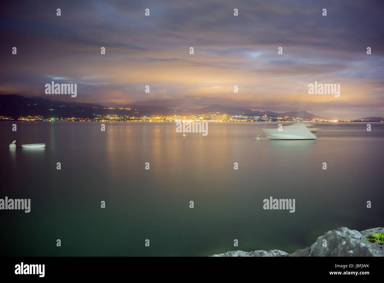 Nightfall by Lake Leman (Lake Geneva) in Switzerland - Stock Image