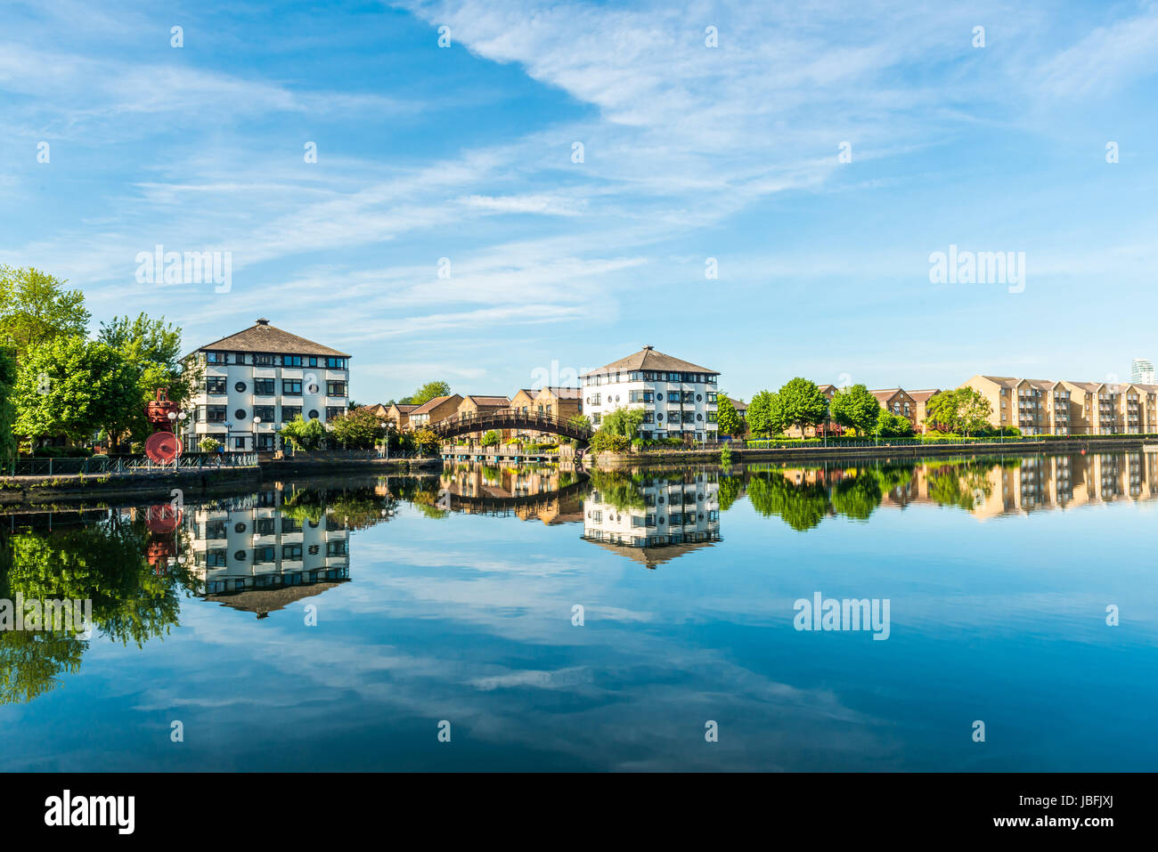 London, United Kingdom - June 01, 2017: Morning in Millwall Outer Dock near Canary Wharf in East London in calm - Stock Image