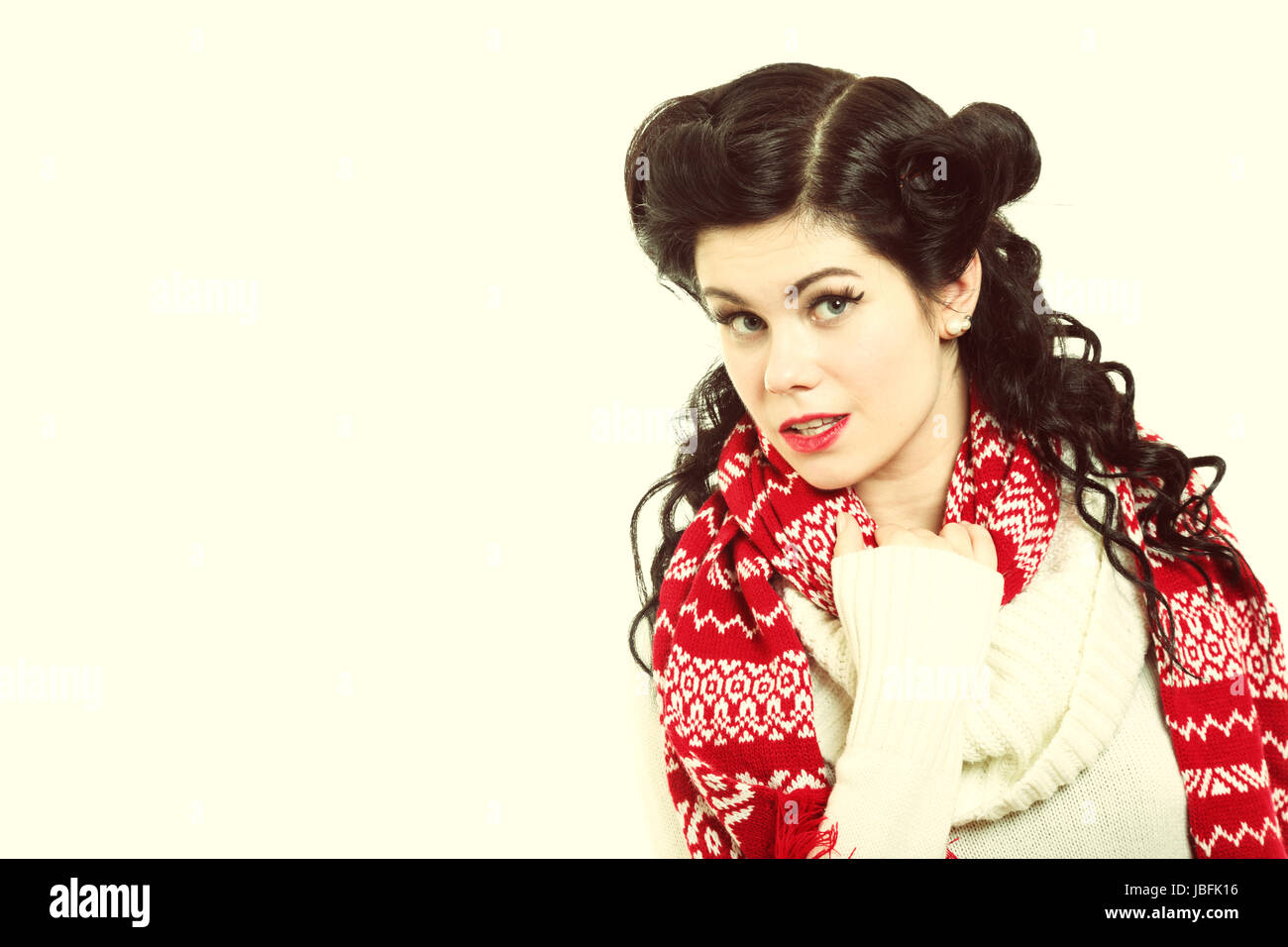 Winter Fashion Portrait Brunette Woman Retro Hairstyle In Warm Stock