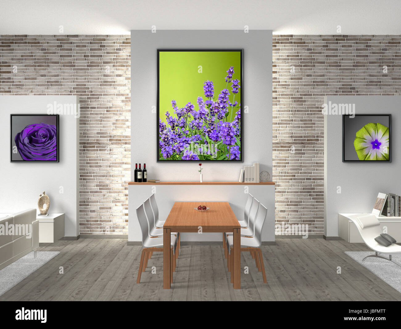 FICTITIOUS interior of a modern dining room. The photos in the ...